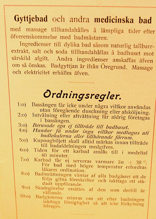 Parkbadet i Sandviken - gamla ordningsregler
