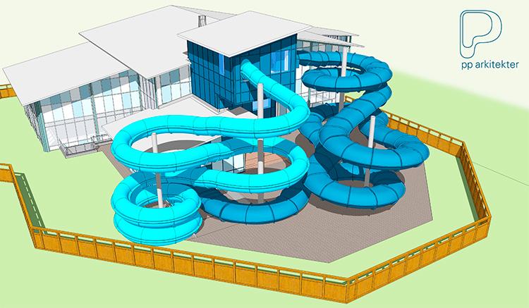 Ritning över Parkbadets nya vattenrutschbanir